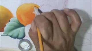 Como pintar Pera, laranjas e folhas Aula 6 – pintura em tecido Cristina Ribeiro