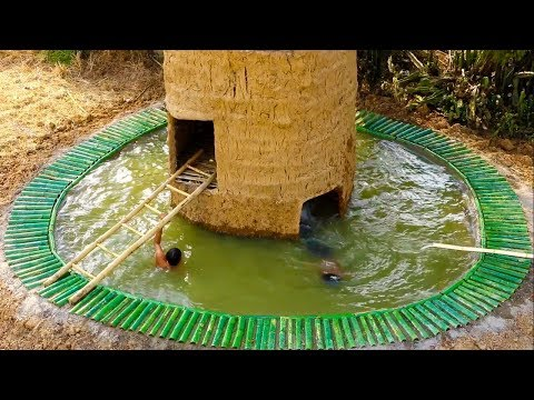 Build  two - story mud house & build swimming pool under two - story mud house (full video)