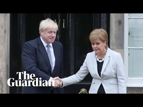 Boris Johnson booed as he meets Nicola Sturgeon in Scotland