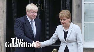 Boris Johnson booed as he meets Nicola Sturgeon in Scotland