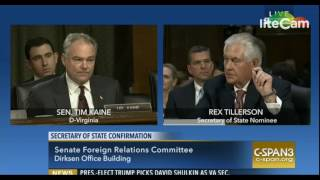 Repeat youtube video Sen. Tim Kaine Questions Rex Tillerson (1/11/17)