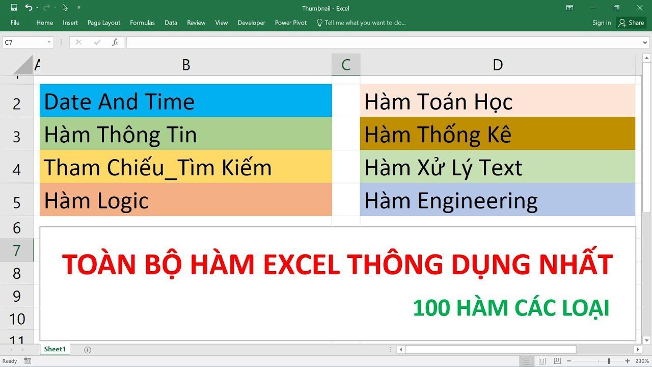 Toàn bộ các hàm Excel thông dụng trong công việc – 100 hàm các loại