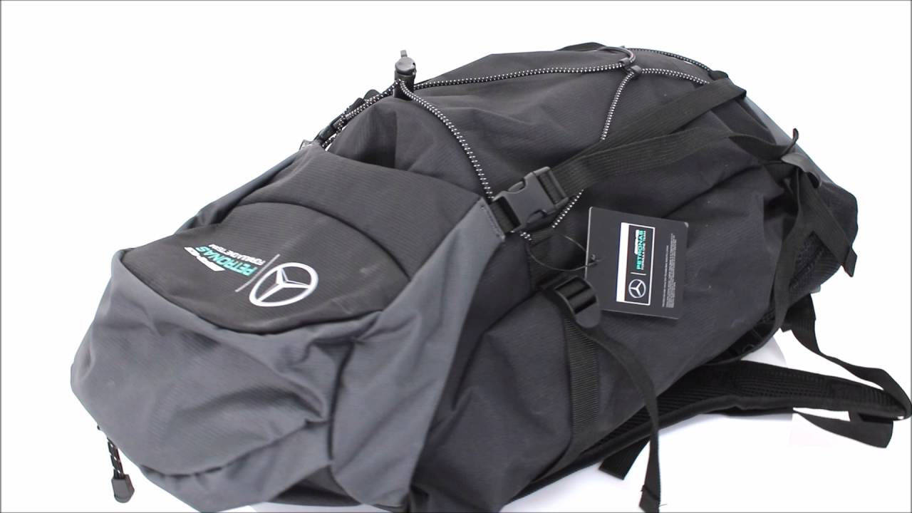 Mochila mercedes amg petronas oficial grande youtube for Mercedes benz backpack