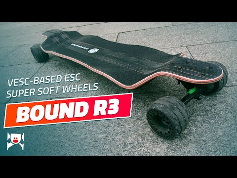Boundmotor Bound R3 electric skateboard with super soft wheels and customizable ESC