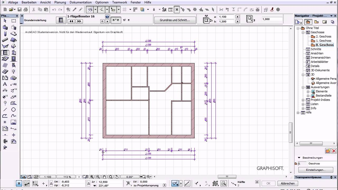 Archicad 16 Basics 6 Tut autom Bemassungen Fenster Türen