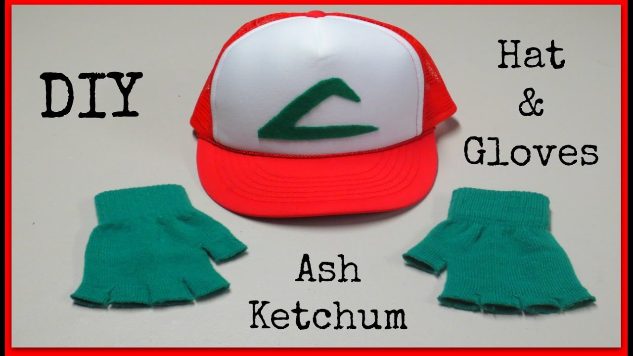 5f9aad5c641 DIY Ash Ketchum Hat   Gloves - Pokemon Halloween Costume! - YouTube