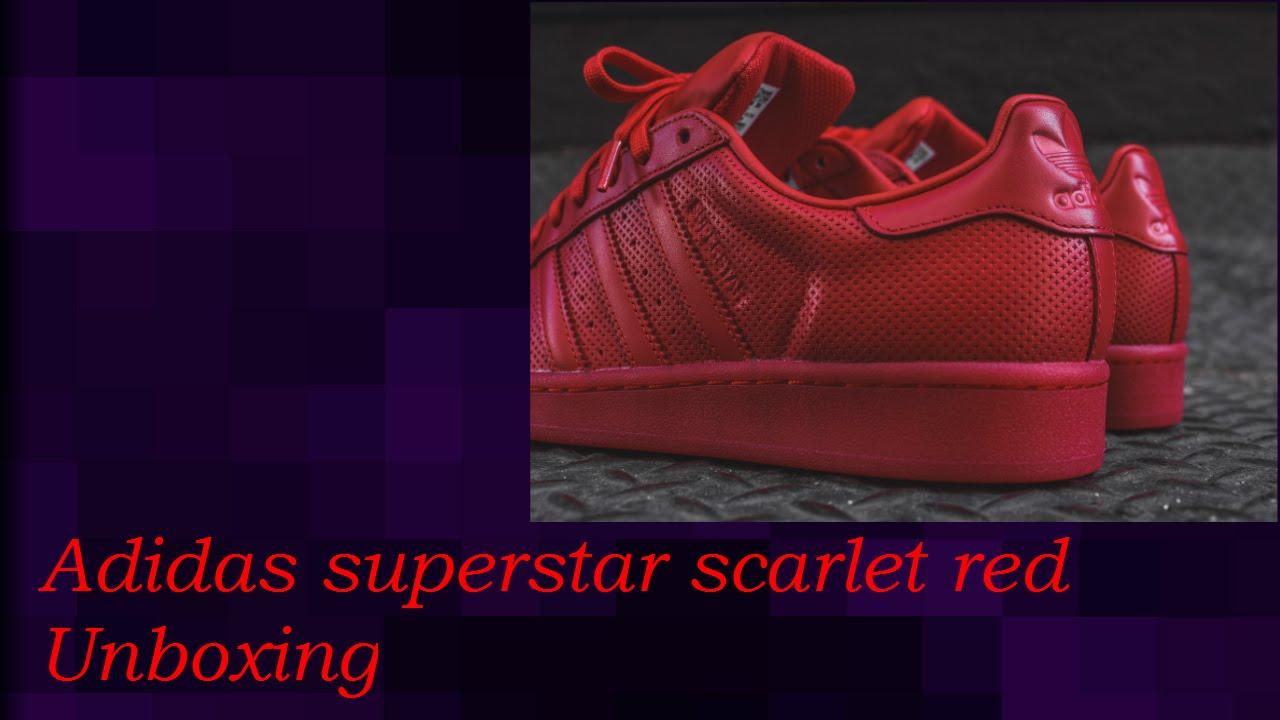 best service b8604 45707 Adidas Men Superstar Adicolor ( Scarlet) Unboxing