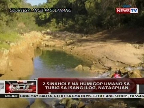 QRT: 2 sinkhole na humigpo umano sa tubig sa isang ilog, natagpuan