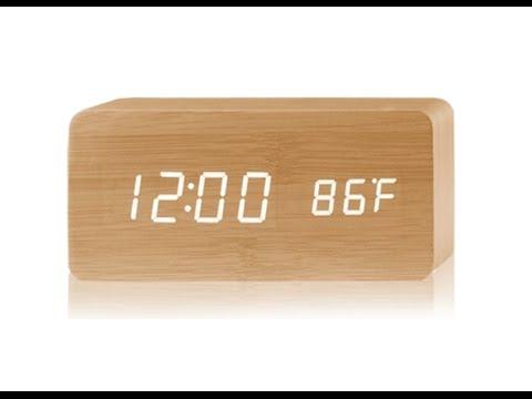 Digital Led Control Wooden Clock, Oct17 Wooden Alarm Clock Manual