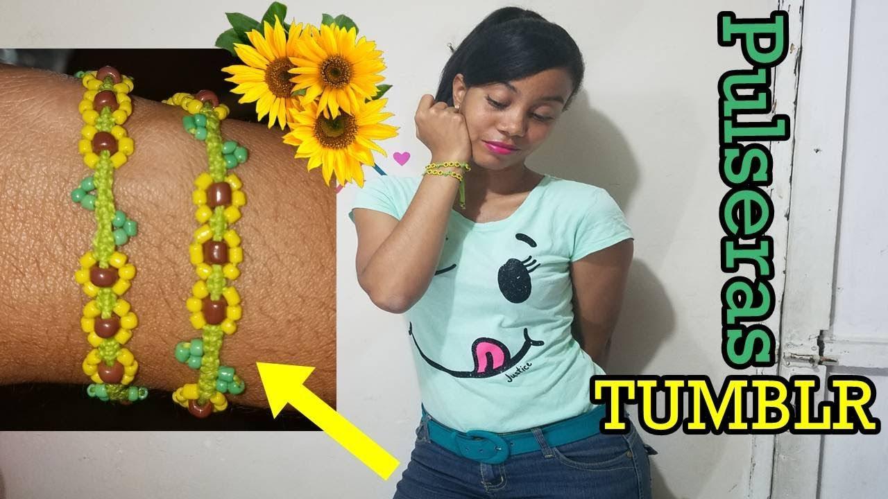 e3fa1ff4018d Haz pulseras Tumblr de Girasoles Tipo Macrame - YouTube
