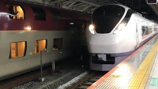 JR東京駅に停車中の、寝台特急サンライズ瀬戸高松・琴平行き285系5031Ml5+サンライズ出雲出雲市行き285系l4!常磐線特急ときわ87号高萩行きE657系87MK13がJR上野駅へと発車!