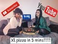 XL PIZZA CHALLENGE IN 5 MINUTES BY TWO GIRLS!!!!!!!