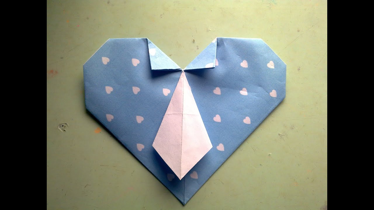 Corazón Con Corbata Origami Día Del Padre