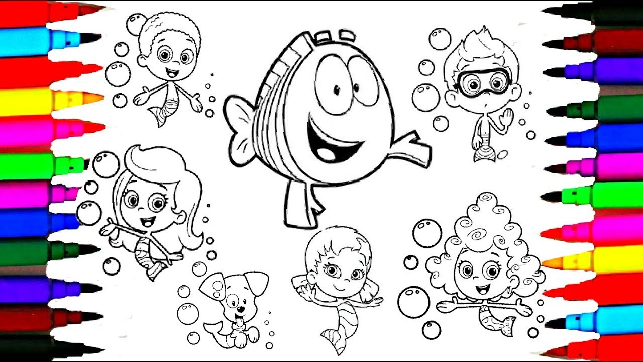 How to Draw Bubble Guppies Coloring Drawing Pages l Learning Videos ...