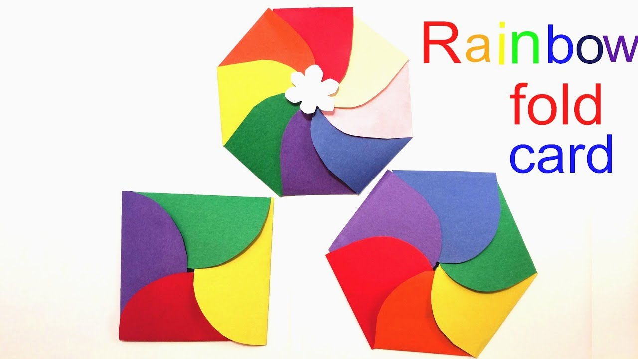 rainbow 4 petal 6 petal 8 petal fold birthday party invitation
