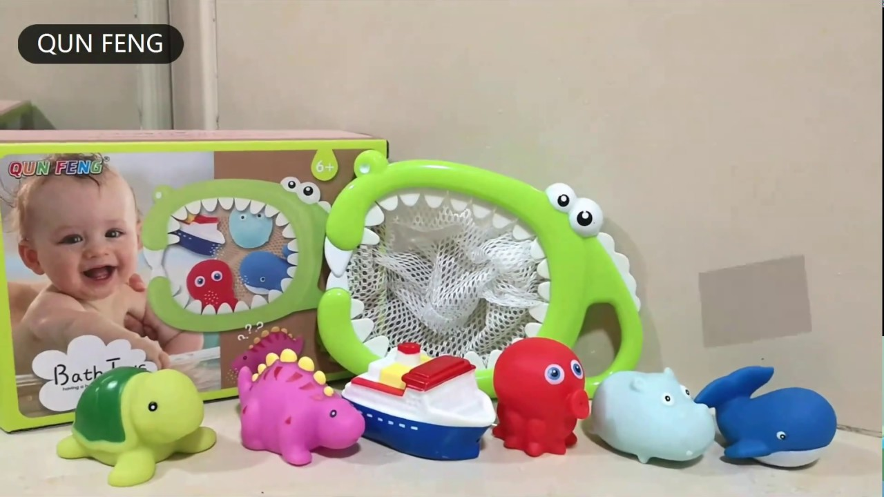 QUN FENG Baby Bath Toys with Floating Animal Rubber Bath Squirt Toys ...