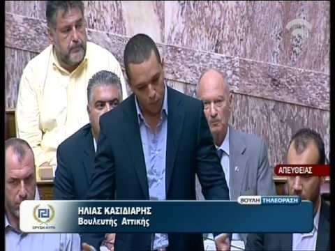 """Έκρηξη Κασιδιάρη για την έκφραση «Κακομοίρηδες Έλληνες» που χρησιμοποίησε ο Γιάννης Στουρνάρας στη Βουλή: """" Κάνετε επικύψεις στους τοκογλύφους!"""""""