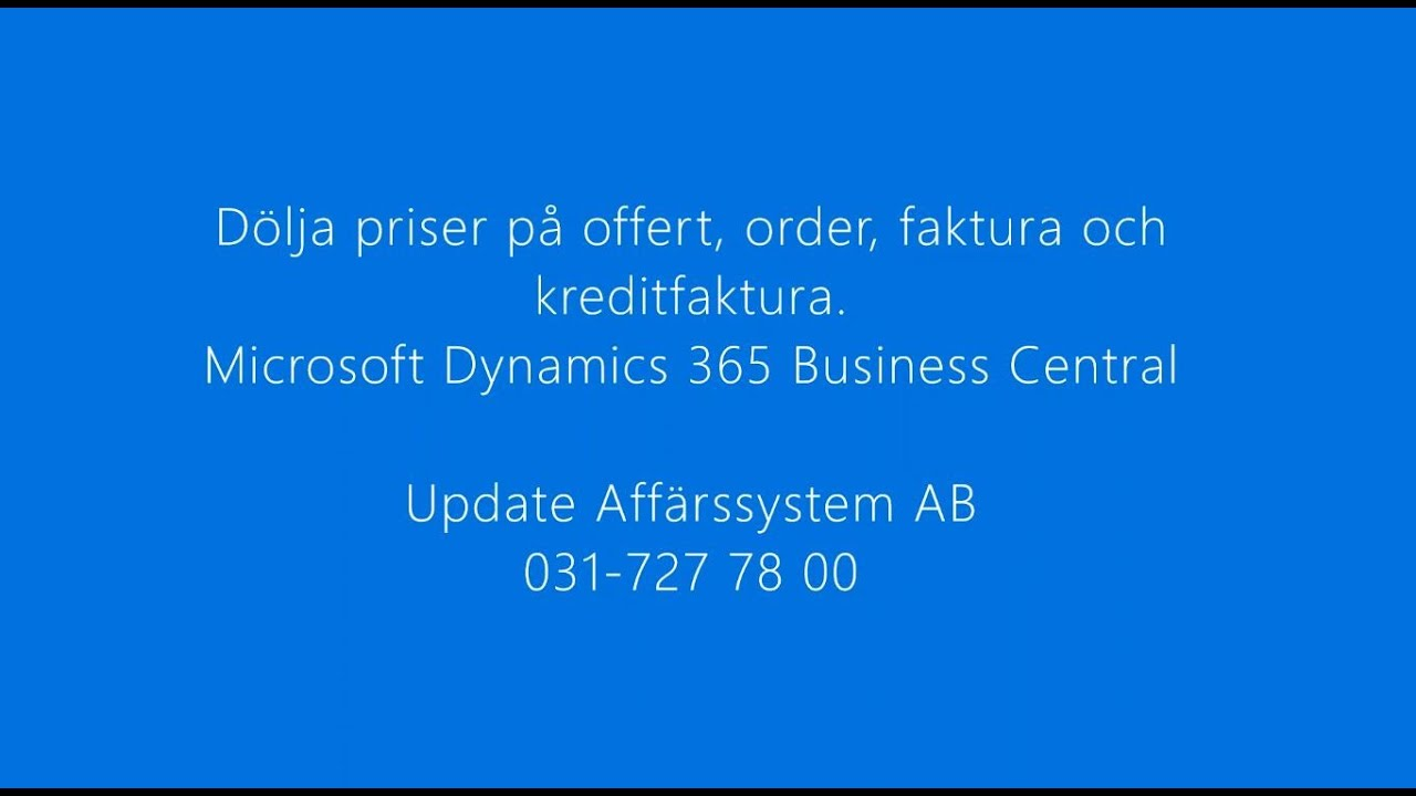 Instruktionsfilm Microsoft Dynamics 365 Business Central