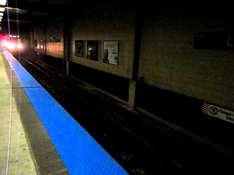CTA Purple Line Train Arrives Linden at Night