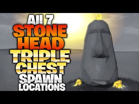 """Visit Different Stone Heads"" -  *TRIPLE* Chest Landing Spots! ALL 7 Moai Stone Head Locations!"