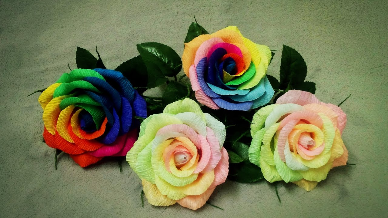 How To Make Rainbow Rose From Crepe Paper Craft Tutorial Youtube