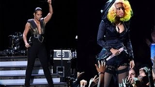 nicki minaj alicia keys perform girl on fire with gabby douglas 2012 mtv vma