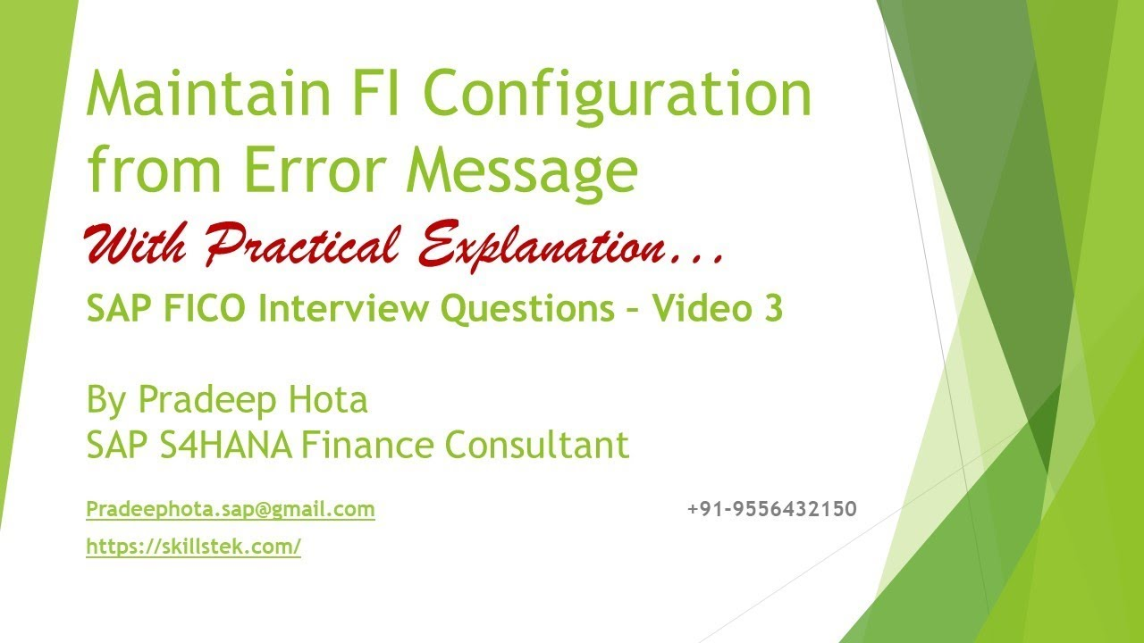 SAP FICO Interview Question - Maintaining FI Configuration from Error  message