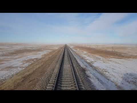 Gobi Desert - Trans-Mongolian railway - view from the rear of the train