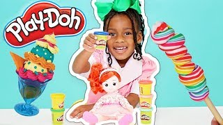 Baby Doll and Play Doh Toys Ice Cream and Lollipop Desserts Cooking Play