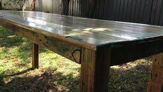 How to Build a Rustic / Distressed Table. Video 3