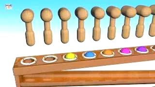 Learn Colors With Wooden Balls Hammer Educational Toys | Kindergarten 3d Videos For Kids & Toddlers