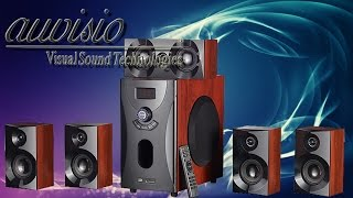 Hardware -  auvisio Home-Theater Surround-Sound-System 5.1, MP3 / Radio, Holzoptik