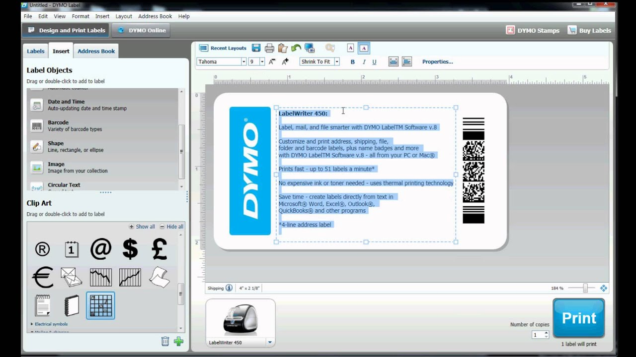 How to build your own label template in dymo label for Dymo address label template