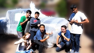 *BIGGEST PRANK EVER!!!* CAR FULL OF FOAM+WRAPPED IN BUBBLE WRAP!?!?!