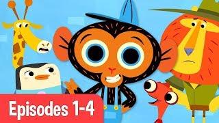 Mr Monkey, Monkey Mechanic | Giraffe, Chameleon, Penguin, and Lion! | Cartoons For Kids thumbnail