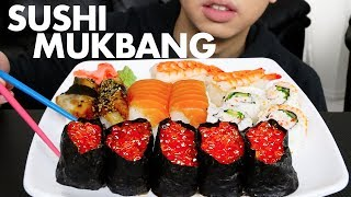 SUSHI MUKBANG (Platter & Rolls) + 3 STORYTIMES 🍣🍣   Salmon, Ikura, and MORE   Sushi Eating Show