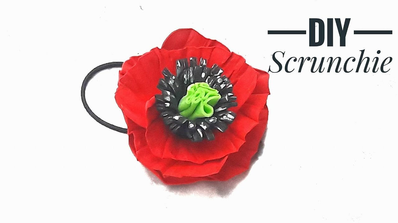 How To Make Foam Poppy Flower Tutorial Diy Fine Hair Scrunchie