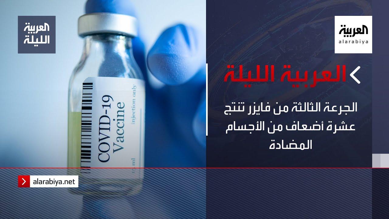 نشرة العربية الليلة | الجرعة الثالثة من فايزر تنتج عشرة أضعاف من الأجسام المضادة  - نشر قبل 6 ساعة