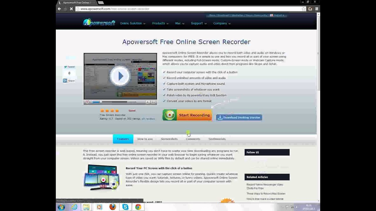 Apowersoft online screen recorder