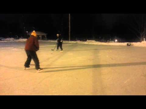 Gordon France (80 yrs old) & Ray LILJA play Pond Hockey at Burns Field in Hinsdale, IL