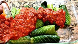 Stuffed Cabbage Rolls - ( VEGAN RECIPIE ) Rice & Lentils