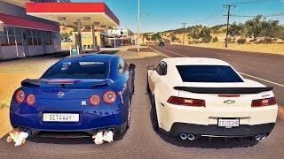 NISSAN GT-R VS CAMARO Z/28 - FORZA HORIZON 3 ONLINE - ft. Getaway Driver - GoPro ‹ ZoiooGamer ›