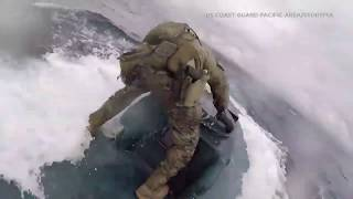 Raw: Coast Guardsman jumps onto narco-submarine loaded with drugs in Pacific Ocean I ABC7