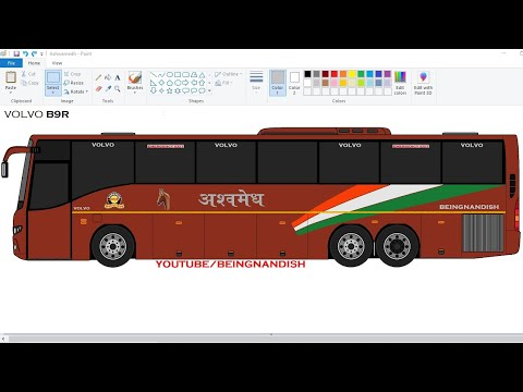 How to draw VOLVO Multi-Axle Bus [ MSRTC ASHWAMEDH ] in easy steps | Volvo Bus drawing Tutorial.