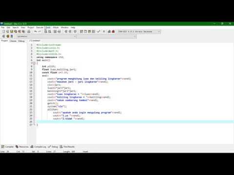 Cara Membuat Program Menghitung Luas Lingkaran Dengan Dev C++