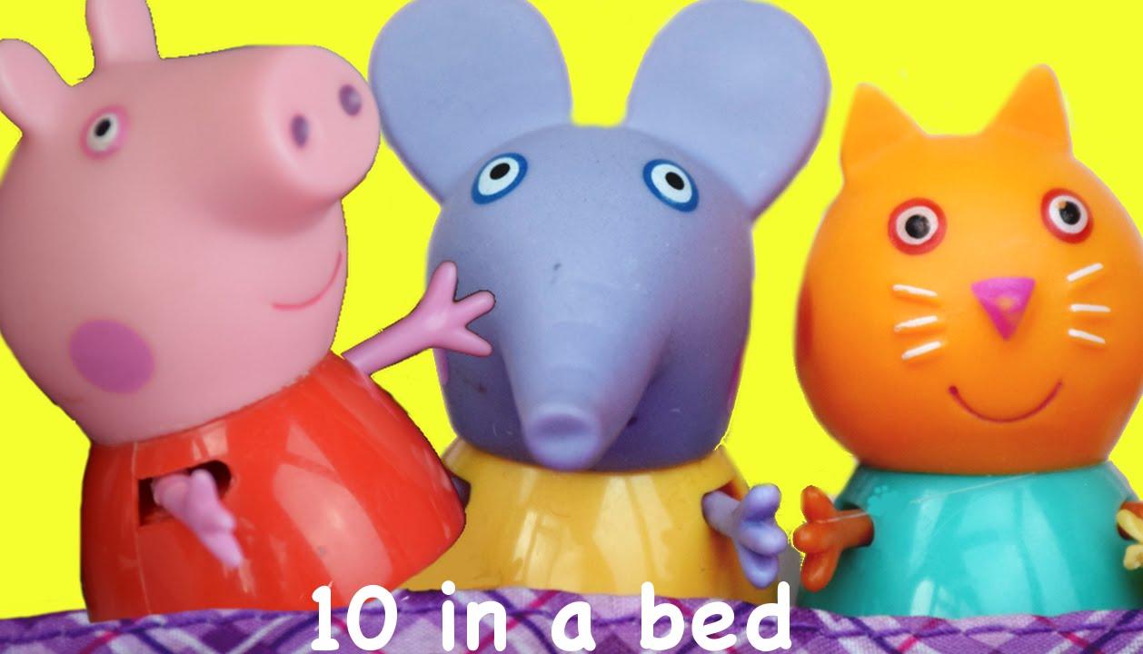 Peppa Pig Nursery rhymes | Peppa & friends Play 10 In A Bed with lyrics