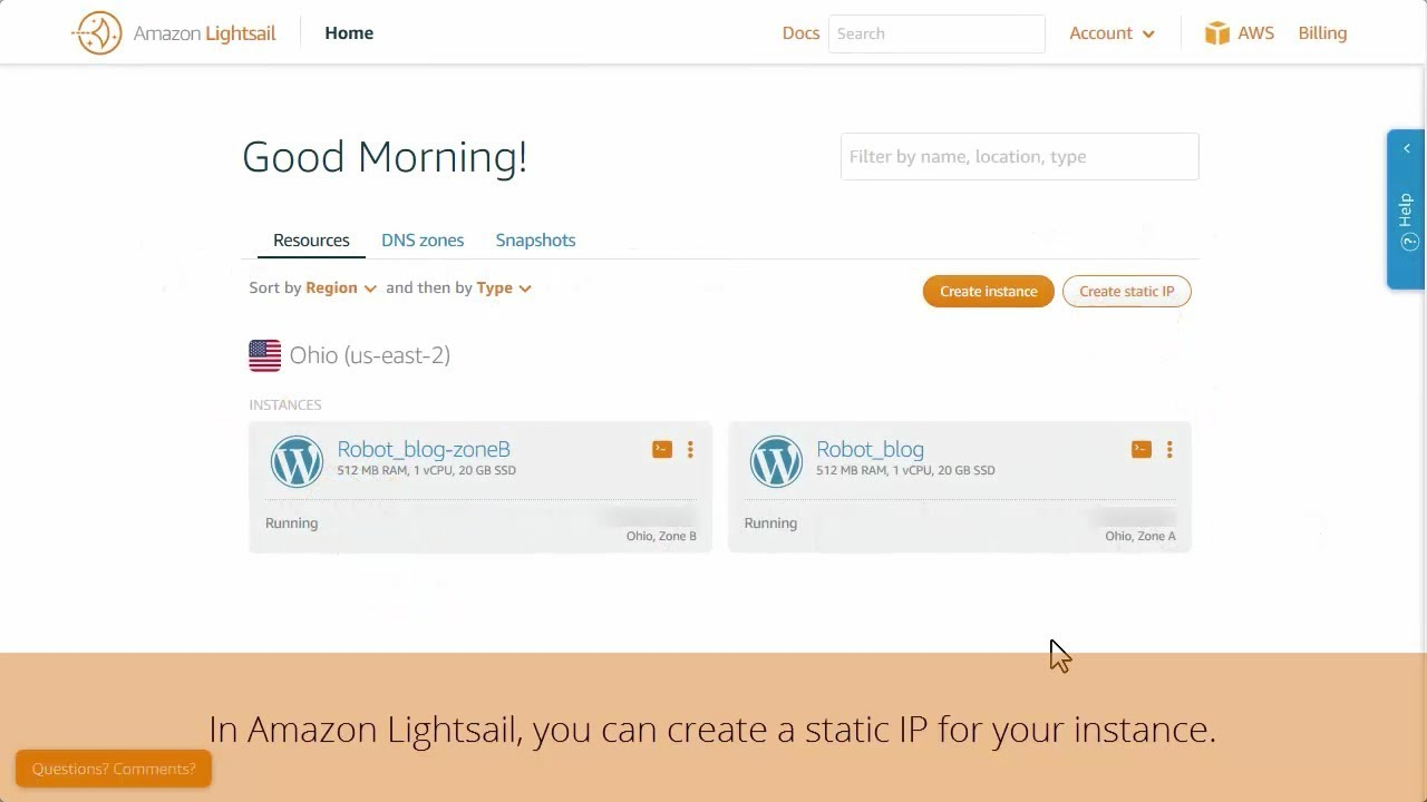 Amazon Lightsail: Adding IP and DNS Records