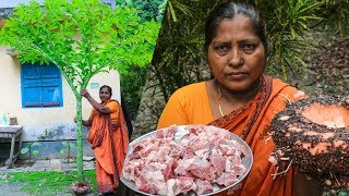 Mutton/Goat's Meat with Elephant Foot Yam Curry Cooking by Village Food Life