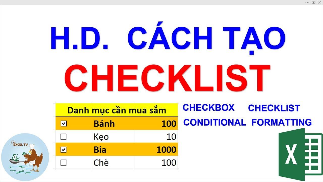 Hướng dẫn cách tạo Checklist trong Excel