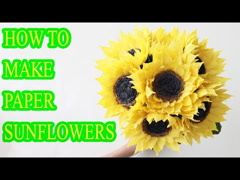 How To Make Sunflower By Crepe Paper DIY Easy Paper Sunflower Step By Step